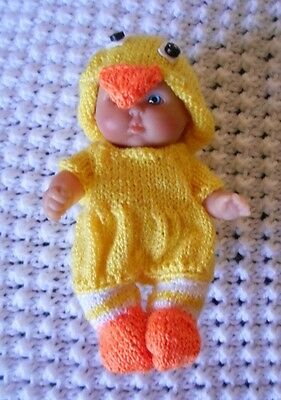 Doll Clothes Yellow Duck Easter Costume Hand Knitted fit 5 inch