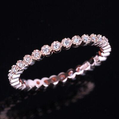 Full Eternity Band Milgrain Bezel .20ct Diamond 10K Rose Gold Wedding Ring
