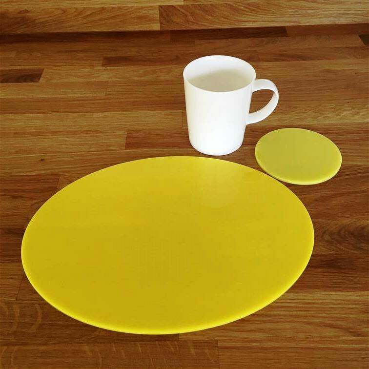 Oval Placemat and Round Coaster Set - Gelb