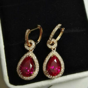 Natural-Diamond-Pear-Red-Ruby-Drop-Women-Earrings-Solid-14K-Rose-Gold-Jewelry