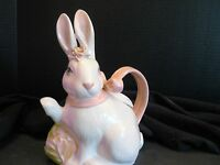 Made In Usa Ceramic Bunny Teapot 11t 10w White Satin Glaze