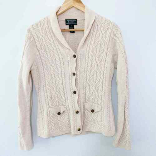 Ralph Lauren Hand Knit Cable Knit Cardigan Small