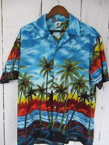 Men-039-s-Kennington-LTD-California-Hawaiian-Shirt-Size-XL-Palm-Tree-And-Beach-Theme