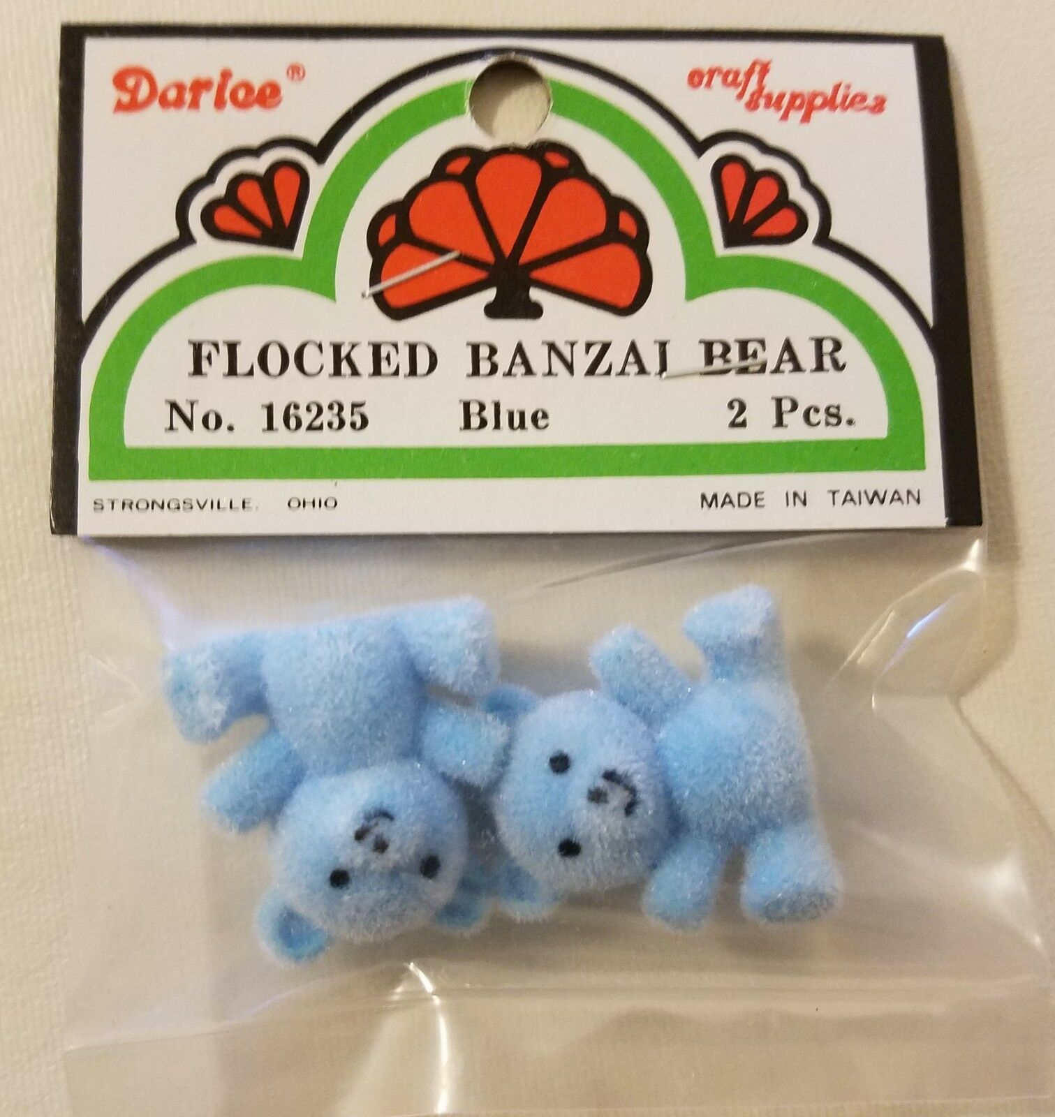 "16235 Craft Lot of 10 Darice Blue Miniature 1/"" Flocked Banzai Teddy Bears No"