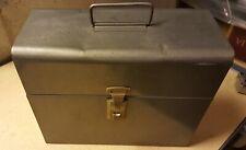 Vintage Silver Gray Amfile Metal File Box Handle Latch Portable Industrial