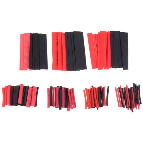 127Pcs Weatherproof heat shrink sleeving tubing tube assortment kit black glueVQ