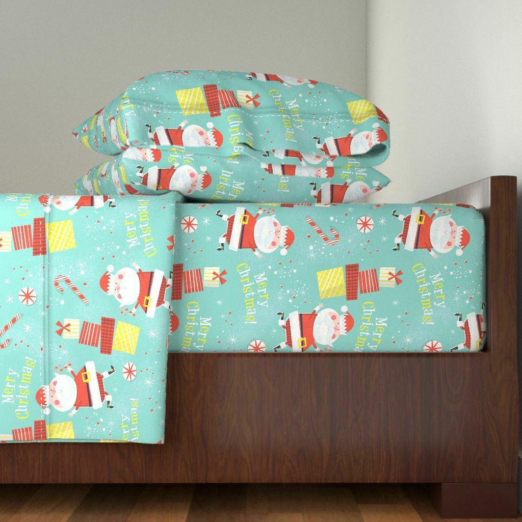 Holiday Festive Christmas Retro Vintage 100% Cotton Sateen Sheet Set by Roostery