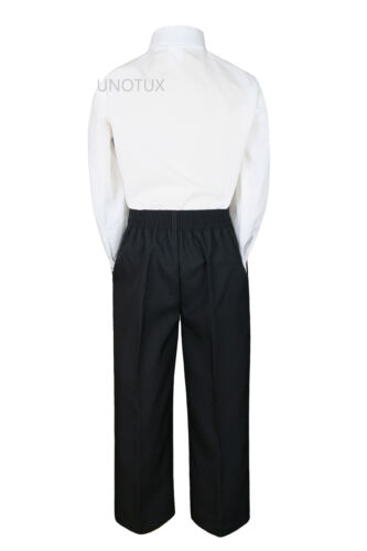 3pc Baby Boy Toddler Kid Teen Formal Suit White Shirt Black Pants Necktie S-20