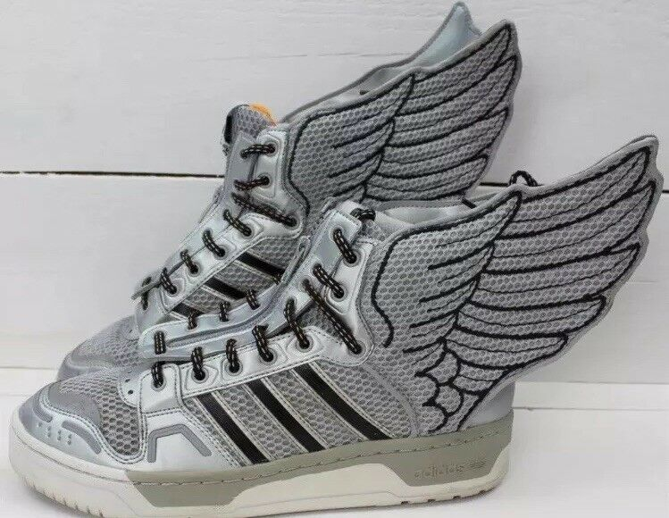 Adidas flagge jeremy scott js nasa wings 2.0 metallic - flagge Adidas silber, größe 9, selten. 34b63b