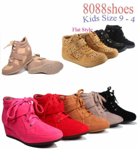Youth Girl/'s Kid/'s Round Toe Flat Low Wedg Lace Up Bootie Shoes  Size 9-4 NEW