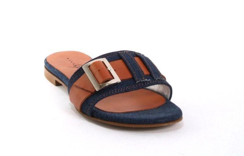 Gibellieri 3654a Denim / Brown Pelle Buckle Slides Sandals Flat 36 /   6