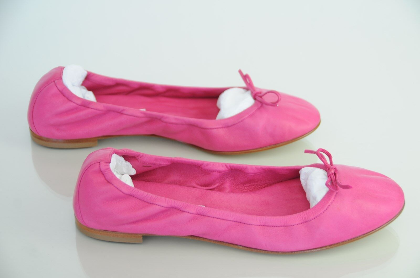 NEW MANOLO BLAHNIK TOBALY Hot PINK Bow Stretch Ballerina Flats SHOES 40.5