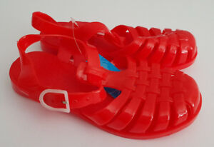 BNWT-Older-Girls-Sz-1-32-JellyBeans-Red-Plastic-Strappy-Buckle-Sandals