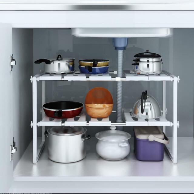 2x Under Sink Expandable Shelf Organizer Rack Storage Kitchen Bathroom Holders