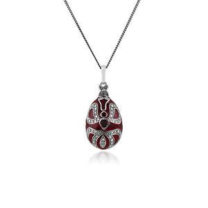 Granate-Huevo-Faberge-0-41ct-Plata-Esterlina-Collar-de-estilo-45cm