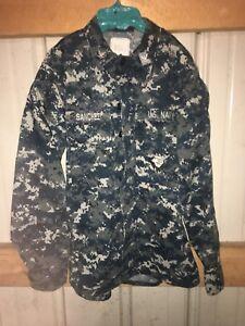 Us-Military-Uniform-Blue-Digital-Camo-Navy-Shirt-Size-Small