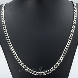 5MM-MENS-Chain-Boys-Silver-Tone-Curb-Link-Stainless-Steel-Necklace-16-36-inch