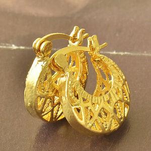 10K-Yellow-Gold-Filled-GF-Hoop-Basket-Earrings-Earings-18mm-Drop-6mm-Wide