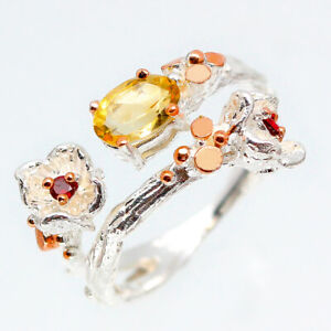 RéAliste Fineart Unique Designer 7x5 Naturel Citrine 925 Sterling Silver Ring/rvs104-afficher Le Titre D'origine 50% De RéDuction