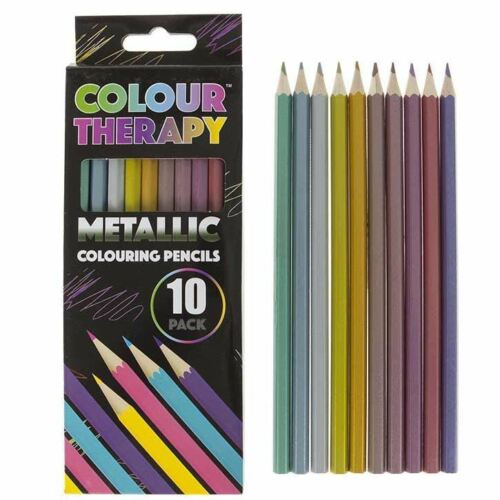 Colour Therapy 10pc Metallic Colouring Pencils Sharpened Anti Stress Art Crafts