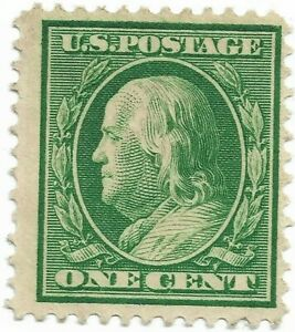 1908-Green-1-Cent-Benjamin-Franklin-NH-Not-Cancelled-XF-S-331-US-Stamp-Perf12x12