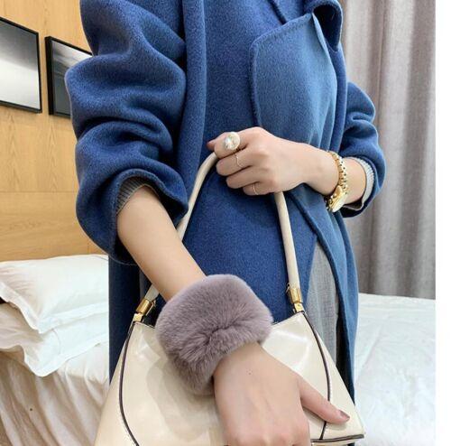 Women/'s Wrist guard Real Rex Rabbit Fur Hand Ring Wrist Warmer Cuffs Wristband