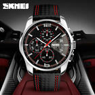 SKMEI 9106 Men Luxury Leather Waterproof Watches Wristwatch Quartz Chronograph