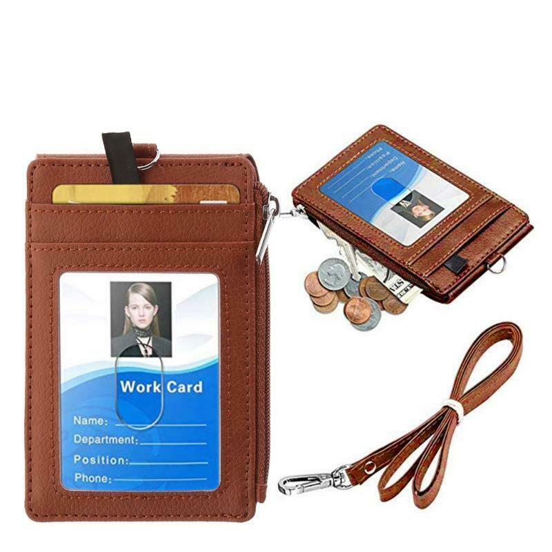 Badge Holder with Zipper ID Card Holder Wallet with Neck Lanyard RFID Blocking