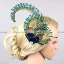 Peacock Turquoise Blue Sword Feather Bridal Bling Fascinator Wedding Hair Clip