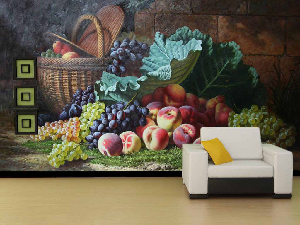 3D Pfirsiche Trauben 72 Tapete Wandgemälde Tapete Tapeten Bild Familie DE Summer