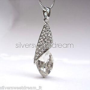Pendente-conchiglia-collana-acciaio-brillanti-cristallo-strass-ciondolo-argento