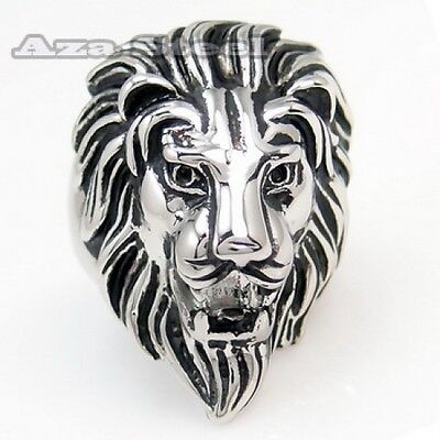 Men's Black Silver Stainless Steel Lion King Ring Size 9, 10, 11, 12, 13, 14