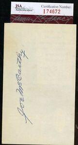 Joe-Mccarthy-Jsa-Certed-Signed-3x5-Index-Card-Authentic-Autograph
