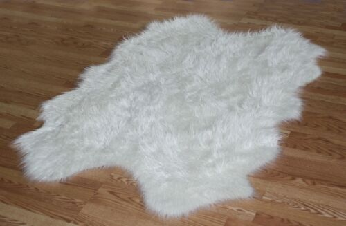 WHITE WHITE Faux fur Sheepskin sexto SOFT PLUSH Pelt rug 5' x7'