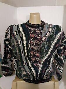 Vintage Tundra Canada Pullover strukturiert 3d Bill Cosby COOGI Style Größe XL Herren