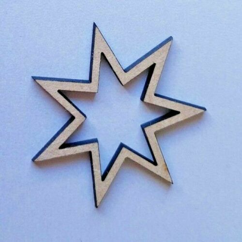 size options Craft Home Decor Wood Seven Point Star shapes Laser Cut MDF