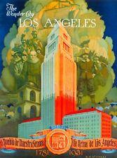 1920s Los Angeles /& Vicinity California Vintage Travel Advertisement Art Poster