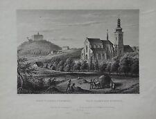Die St. Jakobskirche zu Nepomuk, W. Kandler, ca. 20 x 16 cm, alter Druck, Stich
