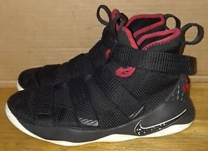 24ce597536a5 Image is loading Nike-LeBron-Soldier-Basketball-Sports-Shoes-Black-Red-