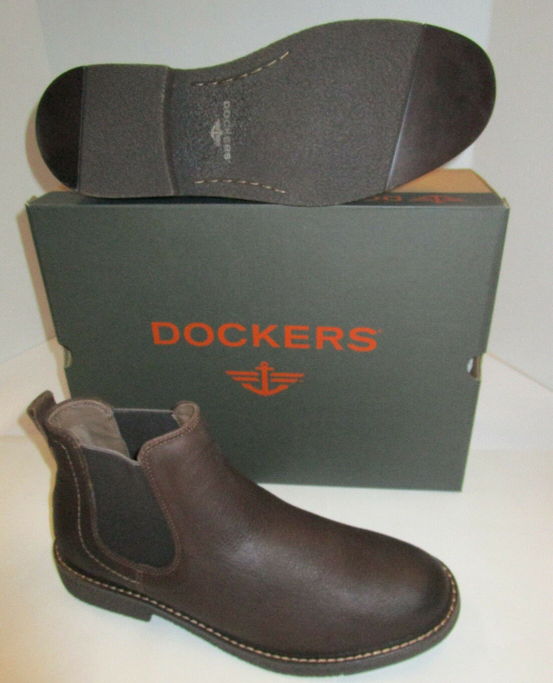 Mens Dockers Stanwell Chocolate Brown Leather Slip On Comfort Boots 13 90