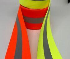 Sew On Reflective Fabric Vest Trim 10 Yards Yellow Or Orange