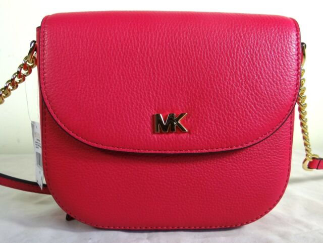 ea002d9e3b12 Michael Kors Half Dome Pebbled Leather Small Crossbody Bag in Ultra Pink