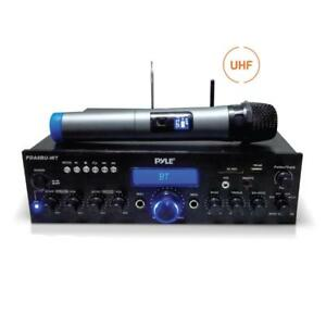 Pyle-PDA8BUWM-Home-Theater-Amplifier-Bluetooth-Stereo-Receiver-UHF-Wireless-Mic