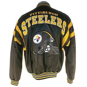 hot sale online b2315 647eb Details about NFL STEELERS PITTSBURGH LEATHER BOMBER JACKET L32540