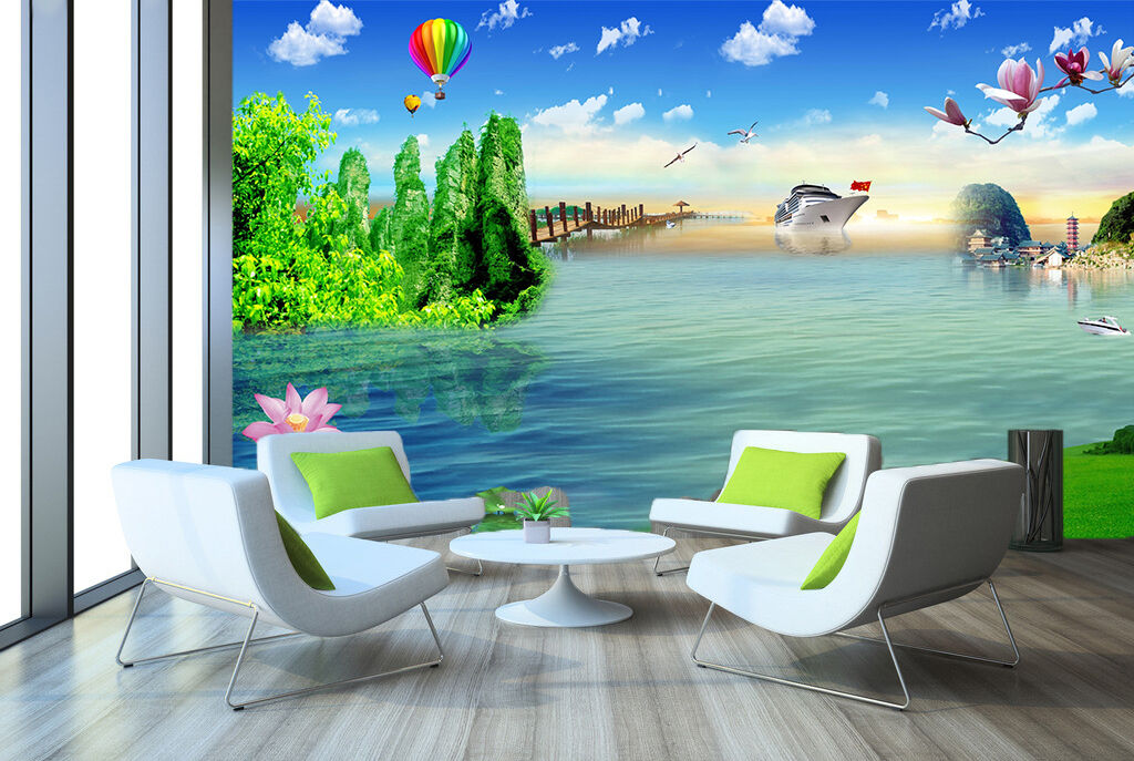 3D Lake Sky Air Balloon Wall Paper Decal Dercor Home Kids Nursery Mural  Home