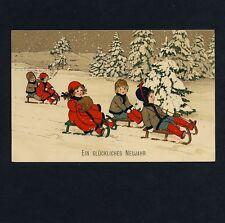 FRITZ BAUMGARTEN Kinder m Schlitten / Children w Sleigh * AK um 1910 M&B Litho