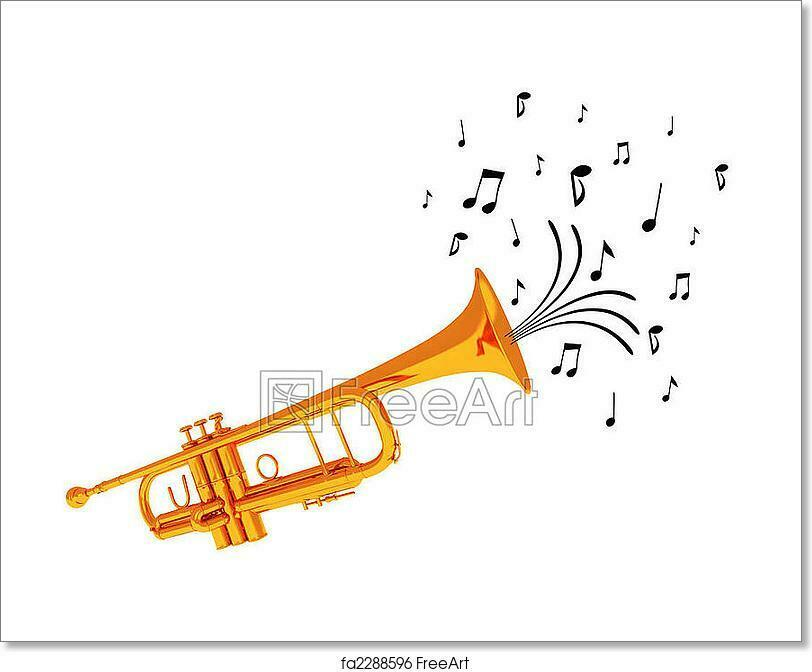 Trumpet Blowing Notes. Art Print Home Decor Wall Art Poster - C