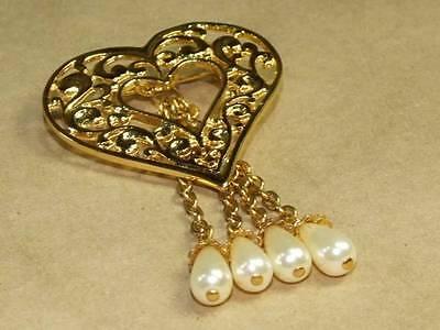 Vintage Art Nouveau Style Open Work Dangle Faux Pearl Heart Pin Brooch