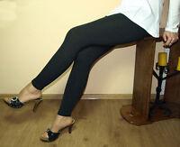 Black Leggings Full Length Premium Cotton Pants All Size Variations Uk Stock