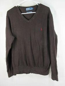 POLO-Ralph-Lauren-mens-brown-vneck-mesh-cotton-cashmere-sweater-XL-EUC